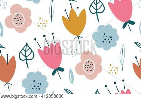 Seamless Pattern With Creative Decorative Flowers. Creative Floral Texture. Great For Fabric, Textil