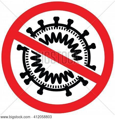 Coronavirus Disease Covid-19 Particle Behind Stop Sign