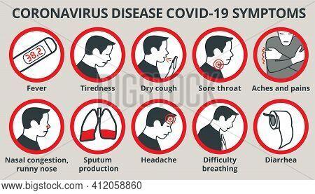 Coronavirus Disease Covid-19 Symptoms Infographic Vector Icon Set