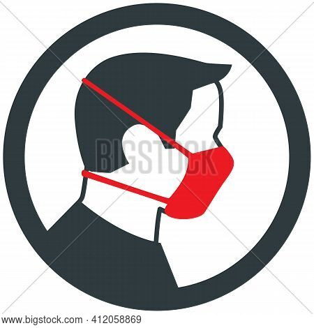 Male Wearing Medical Face Mask Vector Icon