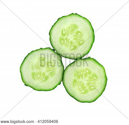 Cucumber.  Fresh Cucumber Slices Isolated On White Background. Cucumber Slices Close Up.