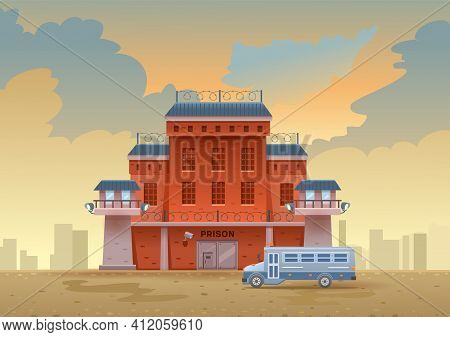 City Prison Building With Two Watchtowers On A High Brick Fence With Barbed Wire, A Bus For Transpor