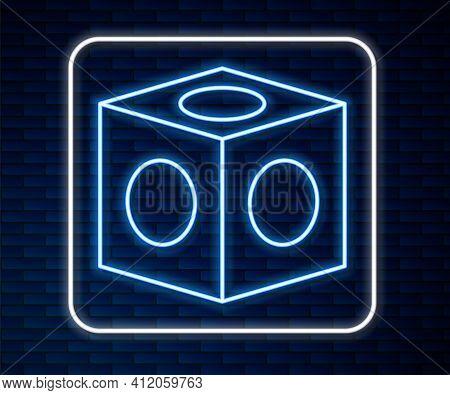 Glowing Neon Line Billiard Chalk Icon Isolated On Brick Wall Background. Chalk Block For Billiard Cu