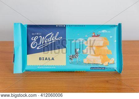 Pruszcz Gdanski, Poland - March 11, 2021: E. Wedel Bar Of White Chocolate.