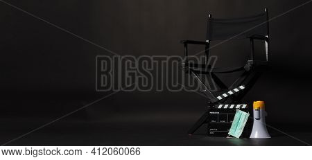 Black Director Chair ,face Mask And Clapper Board Or Clapperboard Or Movie Slate With Megaphone .it