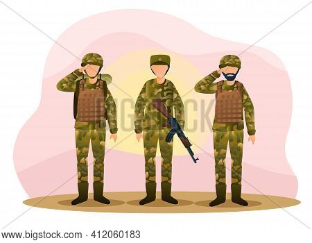 Three Army Men Are Standing In Camouflage Combat Uniform Saluting. Men Are Standing And Greeting Wit
