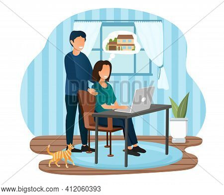 Young Male And Female Characters Sitting At Home Choosing A Suitable House Mortgage Option On Laptop