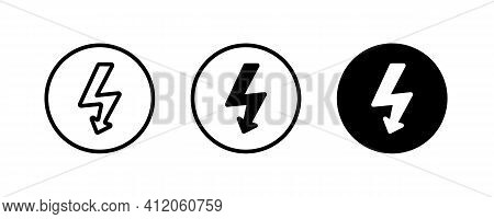 High Voltage Attention Icon. Electric Danger Symbol. Flat Vector Illustration. Attention Sign With E