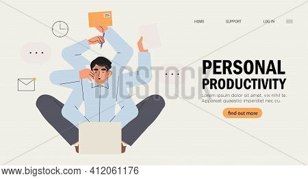 Multitasking And Time Management Concept. Young Freelancer Man Or Business Manager Working At Office