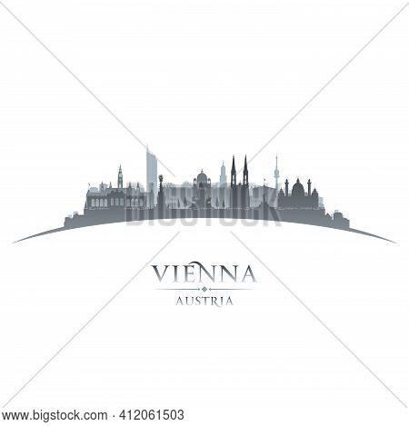 Vienna Austria City Silhouette White Background