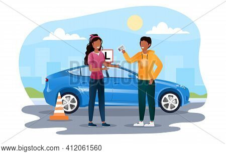 Young Female Character Is Getting Drivers License. Woman Passed All Drivers Exams And Now Gets Her L