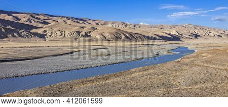 Landscape With  View Of   Wide Floodplain Of  Mountain River. Panorama With Riverbed And Mountain St