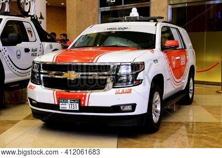 Dubai, Uae - November 16: The Chevrolet Tahoe Rescue Car Is On Dubai Motor Show 2019 On November 16,