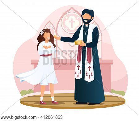 Little Girl In White Dress Is Taking Communion In A Church. Concept Of Participating In The Holy Com