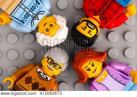 Tambov, Russian Federation - January 17, 2021 Lego Minifigures - Two Generations Of A Family. Gray B
