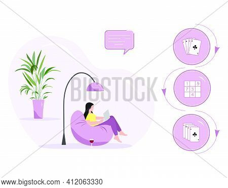 Vector Illustration Woman Using Laptop For Chooses Play Online Game Solves Sudoku, Solitaire, Poker