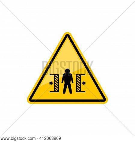 Warning Crushing Sign Isolated Attention Crush Yellow Triangle With Person, Vector Caution Informati