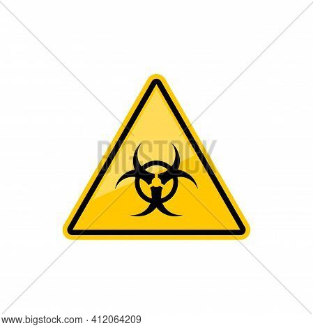 Warning Sign Of Virus Or Biohazard Isolated Precaution Yellow Triangle. Vector Symbol Of Danger, Bio