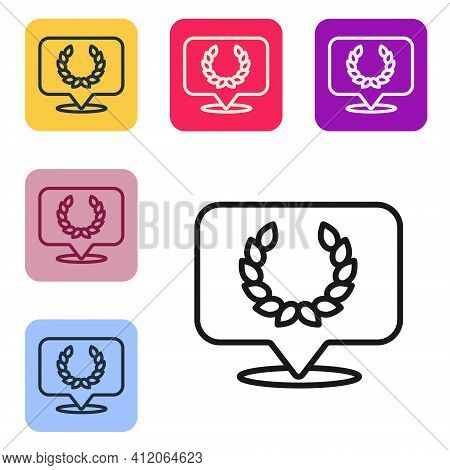Black Line Laurel Wreath Icon Isolated On White Background. Triumph Symbol. Set Icons In Color Squar