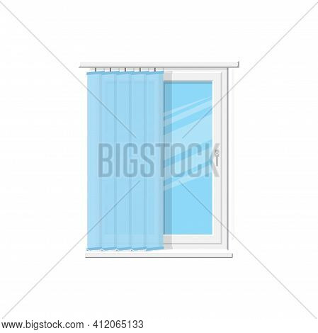 Vertical Blinds On Modern Plastic Window Isolated Shutters On Cornice. Vector Curtains, Vertical Rol