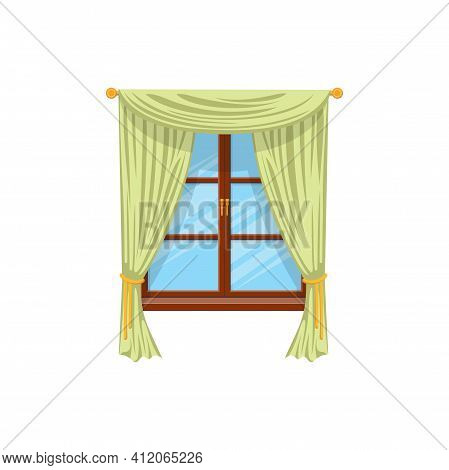 Sash Curtains With Rods Isolated Green Drapes Or Shades. Vector Velvet Drapery Curtains On Cornice A