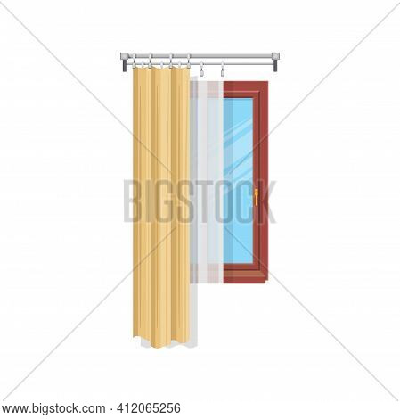 Home Window With Silk Tulle And Shades Isolated Curtains House Interior Decor. Vector Draperies Wind
