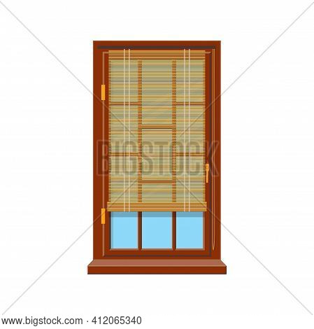 Horizontal Blinds On Modern Wooden Window Isolated Shutters. Vector Windows Treatments Design, Offic