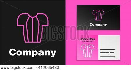 Pink Line Cycling T-shirt Icon Isolated On Black Background. Cycling Jersey. Bicycle Apparel. Logo D