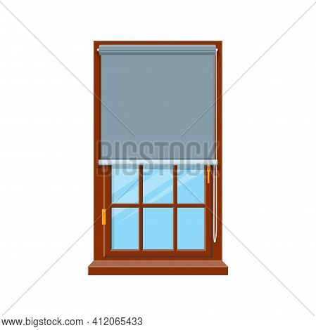 Horizontal Blinds On One Window Isolated Shutters. Vector Curtains, Roller Blades Flat Panel On Whit