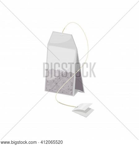 Tea Bag With Black Tea In Transparent Package Isolated. Vector Teabag And Blank Tag Mockup, Green, F