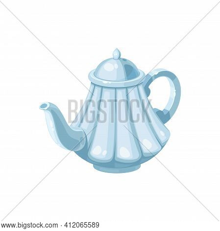 Tea Pot Isolated Porcelain Kettle With Hot Drink. Vector Teapot With White Cap, Kitchenware Utensils