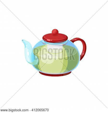 Tea Pot With Herbal Green Tea Isolated Transparent Kettle With Green Cap. Vector Modern Teapot House