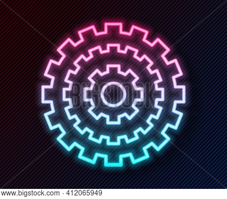 Glowing Neon Line Bicycle Cassette Mountain Bike Icon Isolated On Black Background. Rear Bicycle Spr