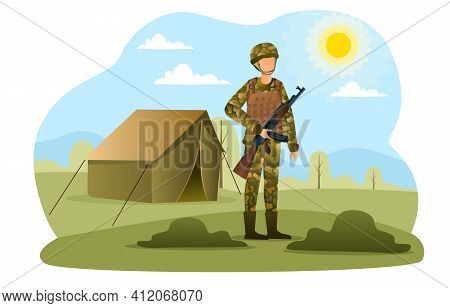 Male Soldier In Camouflage Standing With Assault Rifle. Concept Of Military Camp. Man With A Gun Is