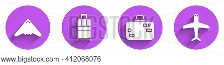 Set Jet Fighter, Suitcase, Suitcase And Plane Icon With Long Shadow. Vector
