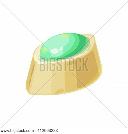 White Chocolate Candy With Green Mint Jam Isolated Realistic Sweets. Vector Tasty Dessert, Homemade