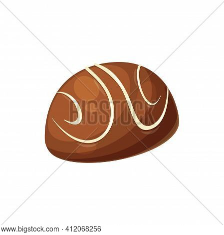 Confectionery Food Product Isolated Sweet Glossy Candy With White Sugar Lines. Vector Homemade Confe