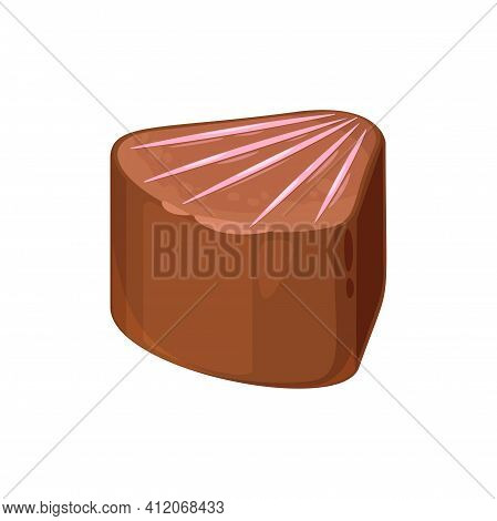 Homemade Candy In Shape Of Seashell Isolated Confectionery. Vector Sweet Dessert, Cocoa Treat, High
