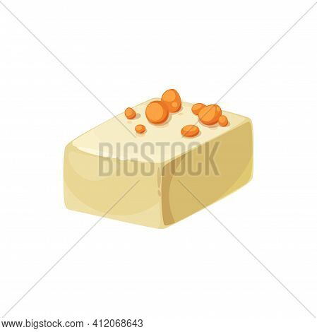 Candy With Praline Nougat Cream Isolated Food Snack. Cacao Candy With Almond Or Hazelnut Nuts, Sweet