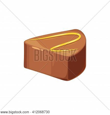 Chocolate Candy With Praline And Ganache Filling Isolated Whole Sweets. Vector Choco Sweets, Confect