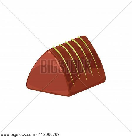 Pyramid Shape Chocolate Candy Isolated Single Treat. Vector Dessert Of Sugar And Cocoa, Sweet Food S
