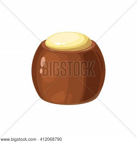 Vector Sweet Birthday Holiday Dessert, Choco Snack, Homemade Candy Isolated Icon. Vector Glazed Brow