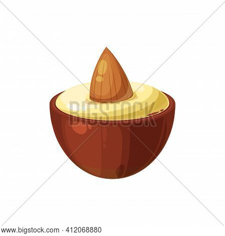 Praline Chocolate Candy With Almond Isolated Tasty Treat. Vector Nut In Delicious Dessert, Confectio