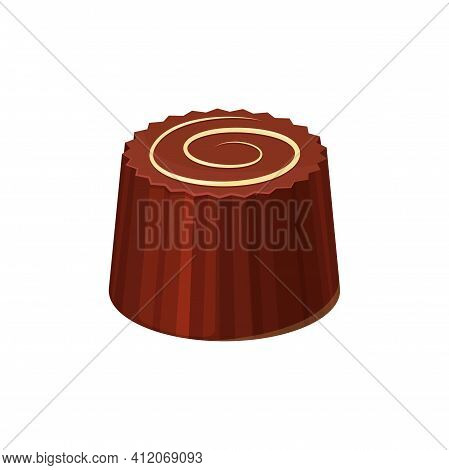 Sweet Birthday Or Valentines Day Holiday Dessert, Choco Snack Isolated. Vector Candy Of Milky Chocol
