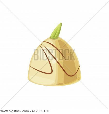 Round Chocolate Candy In Glossy White Glaze And Cocoa Topping Isolated Tasty Food Snack. Vector Tast