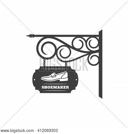 Shoemaker Store Vintage Signboard With Street Forged Signage Isolated Retro Billboard. Vector Shoe S