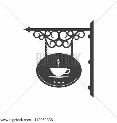 Coffee Shop Isolated Vintage Street Signboard With Antique Forged Ornaments. Vector Cafeteria Or Caf