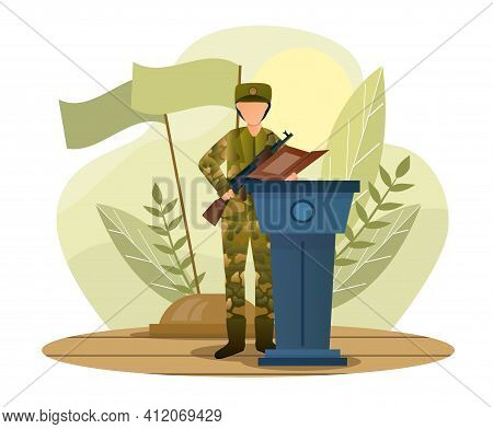 Male Character In Camouflage Is Giving Military Oath On The Tribune. Man Is Standing With A Gun In M