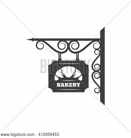 Antique Bakery Metal Signage With Fresh Croissant Dessert Isolated Forged Billboard. Vector Bread Si