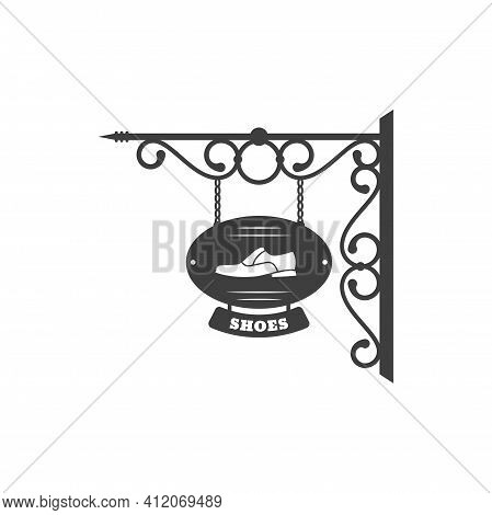 Shoes Vintage Signboard Of Retro Shop Or Store Isolated Gorged Billboard With Advert On Chains. Vect